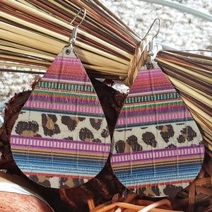 Genuine Leather Serape Teardrop Earrings